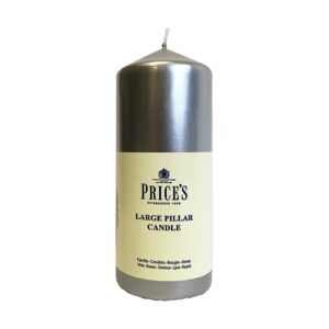 Prices Candles 6inch Silver Pillar Wrapped