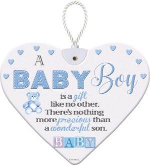 Heartfelt Ceramic Heart - Baby Boy