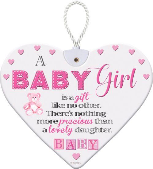 Heartfelt Ceramic Heart - Baby Girl