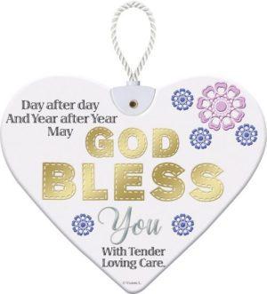 Beautiful ceramic hanging heart plaque - God Bless