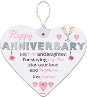 Heartfelt Ceramic Heart - Happy Anniversary