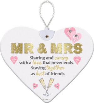 Heartfelt Ceramic Heart - Mr & Mrs