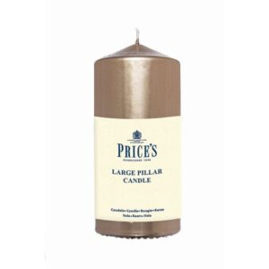Prices Candles Gold Large Metalic Pillar Wrapped