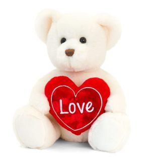 Keel Toys Cream Chester Bear with Heart