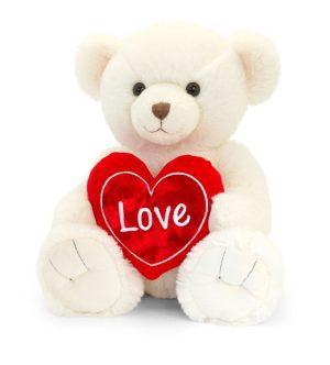 Keel Toys Cream Snuggles Bear with Heart (45cm)