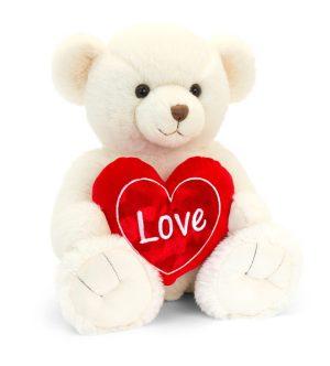 Keel Toys Cream Snuggles Bear with Heart (55cm)