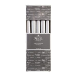 Prices Candles 10pk Venetians 10in Silver
